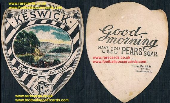 1890 Pears Soap Keswick FC Derwent Water Friar's Crag Baines football card